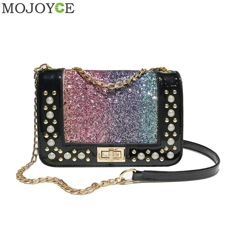 Bling Shining Sequins Mini PU Party Shoulder Bag Women Pearl Messenger Bags Chain Shoulder Crossbody Bag Designer bolso sac main цена