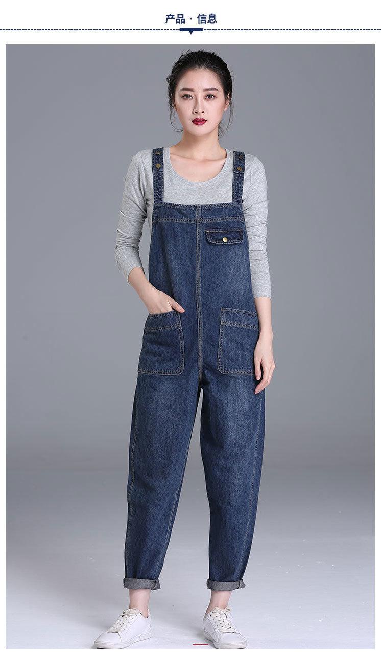 a90e55d8f773 Women Jumpsuits Loose Vintage Strap Rompers Casual Pocket Denim Overalls  Fashion Blue Jean Jumpsuit Plus Size XL-5XL