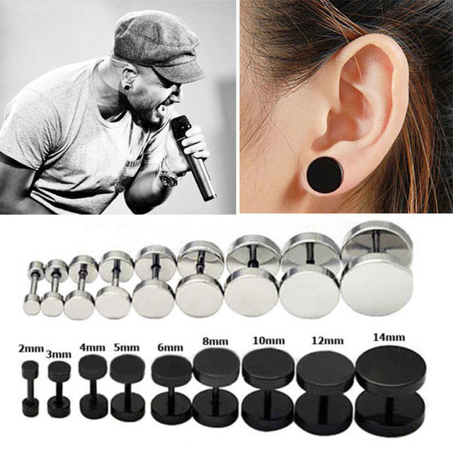 Yiting 1 Pair Men S Barbel Punk Gothic Stud Earrings Fashion Brand 7 Sizes Silver Stainless Steel Black For