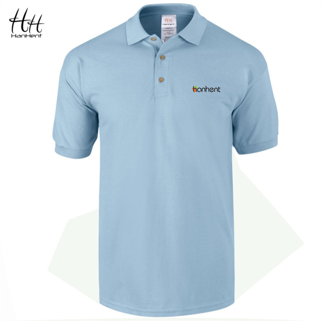 Hanhent logo bordado hombres camisa de polo de negocios oficina ropa formal 2017 verano nueva manga corta 100% algodón masculino de polo camisetas