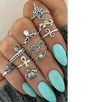 TOMTOSH 10 Pcs Set Boho Vintage Cute Turtle Ring Set Opening Rings Midi Finger Rings For