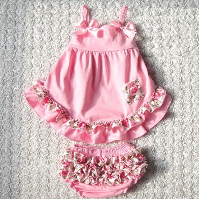 Verão estilo Doce princesa vestido Sem Mangas meninas Do Bebê Balançar para trás set Top 4 Cores dos Retalhos do bebê meninas conjunto de roupas