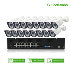 16ch 5MP POE Kit H.265 System CCTV Security Up to 32ch NVR Support 16ch 4k Outdoor Waterproof IP Camera Surveillance G.Craftsman