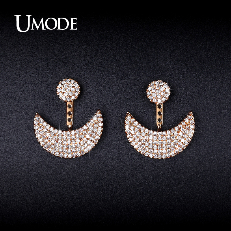 все цены на UMODE Brand Moon And Sun Design Stud Earrings Jacket Gold color Micro CZ Paved Earrings For Women Jewelry Brinco bijoux UE0250A