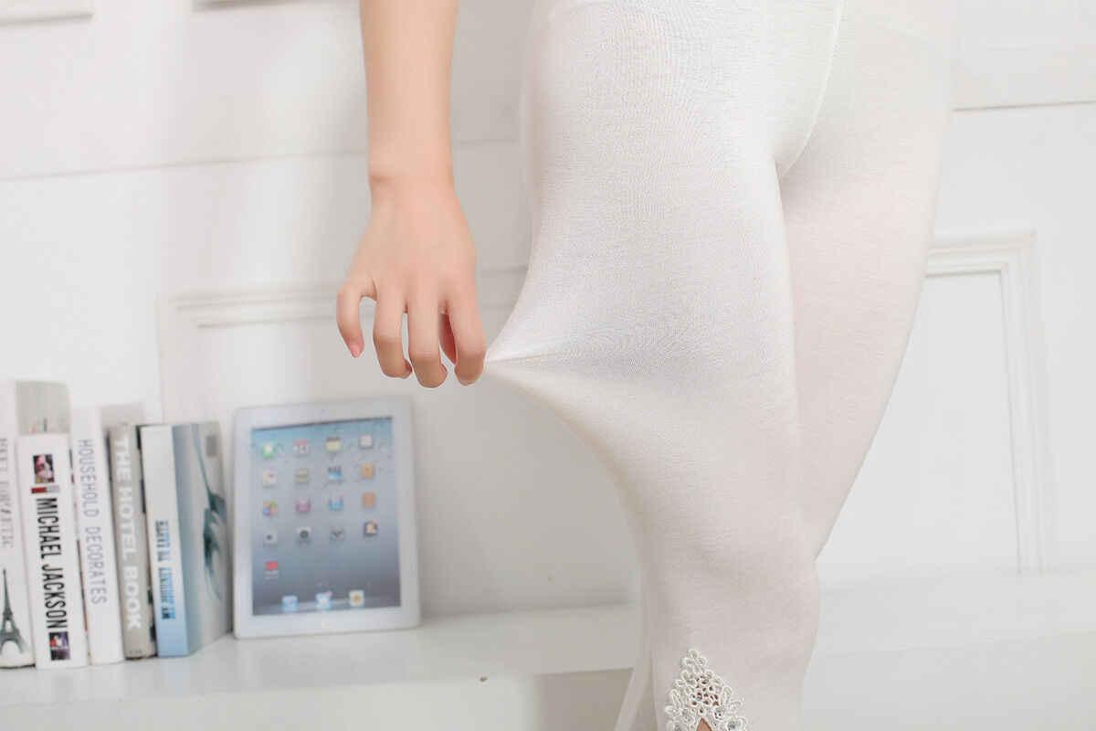 여자 자르기 3/4 길이의 레깅스 옷 카프리 자른 레이스 여름 모달 고품질 레이스 바지 크로 셰 뜨개질 스키니 스트레치 자른