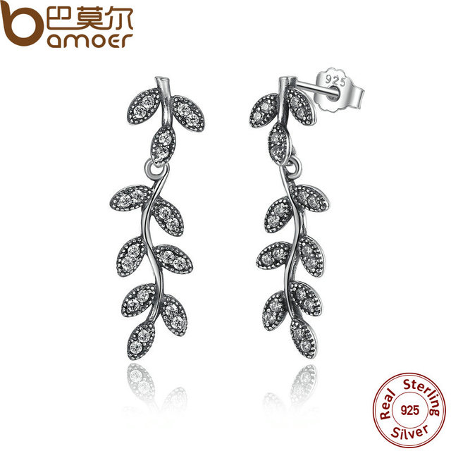 Sterling Silver Sparkling Leaves & Branches Earrings
