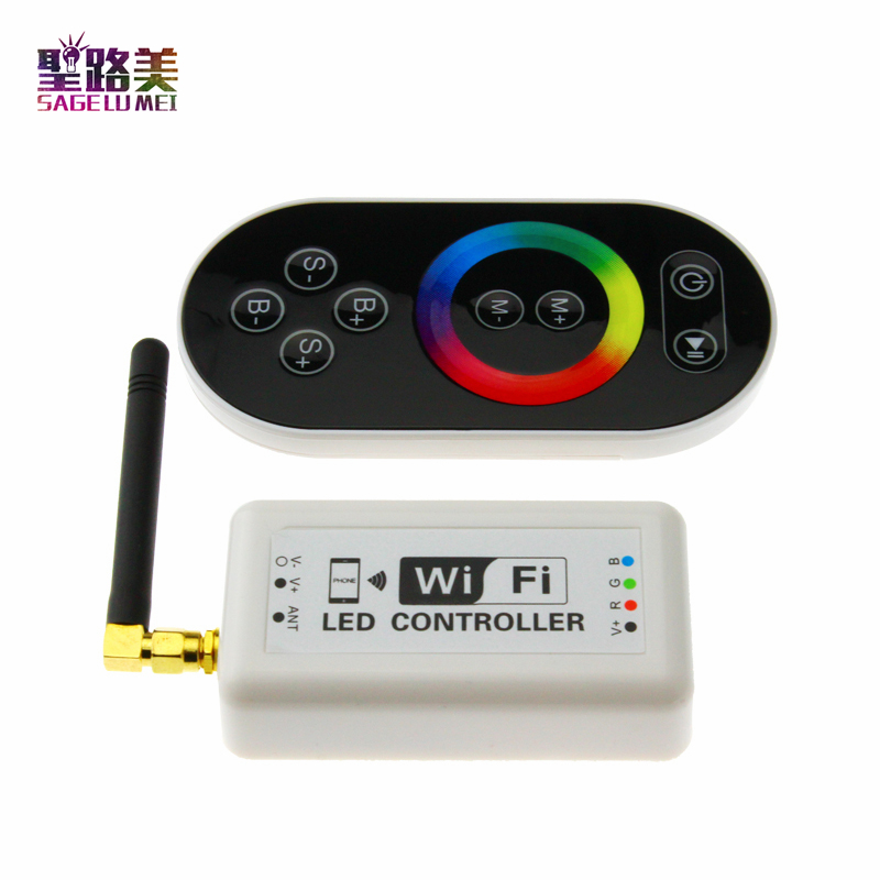 ФОТО Free shipping 16 millions color RGB WIFI LED controller with remote,Group or timing control magic color rgb controler wifi 370