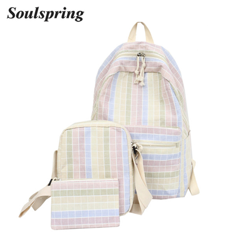 a8b72799e304 3 Pcs/Set Canvas Backpack Women School Backpacks Teenage Girls Vintage  Laptop Rucksack Bagpack Female Schoolbag New 2018