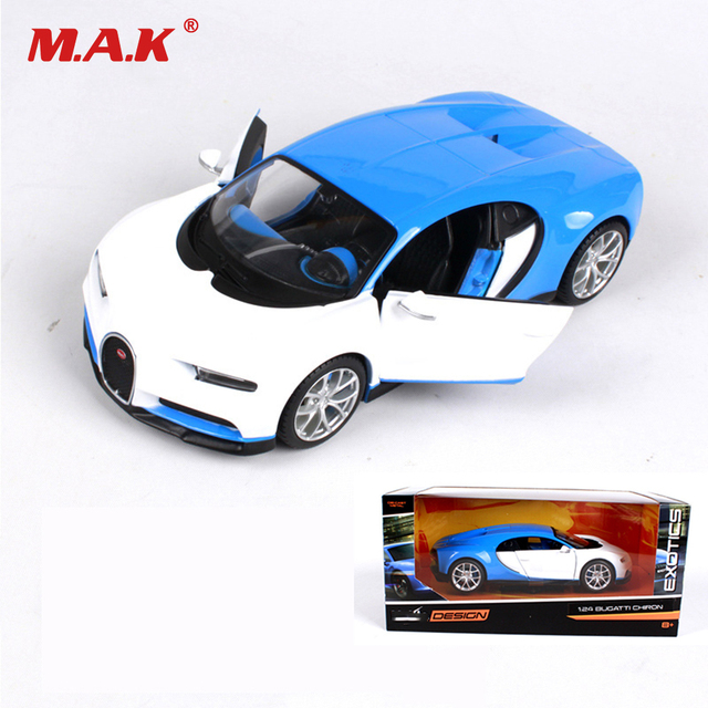 Kid Car Toys 1:24 Scale Bugatti Chiron Diecast Alloy Car Modified Version White Blue Color for Boys and Girls