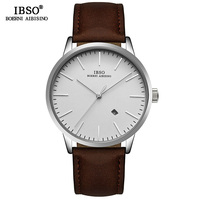 IBSO Brand Simple Quartz Watch Men Reloj Hombre 2019 Fashion Men Wrist Watches Leather Strap Luxury Male Clock Relogio Masculino