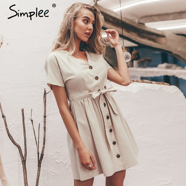 Simplee Vintage button women dress shirt V neck short sleeve cotton linen short summer dresses Casual korean vestidos 2019 festa 2