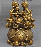 Crafts statue Lucky China Bronze Fengshui Wealth yuanbao Money Coin Zodiac 3 Monkey Statue halloween