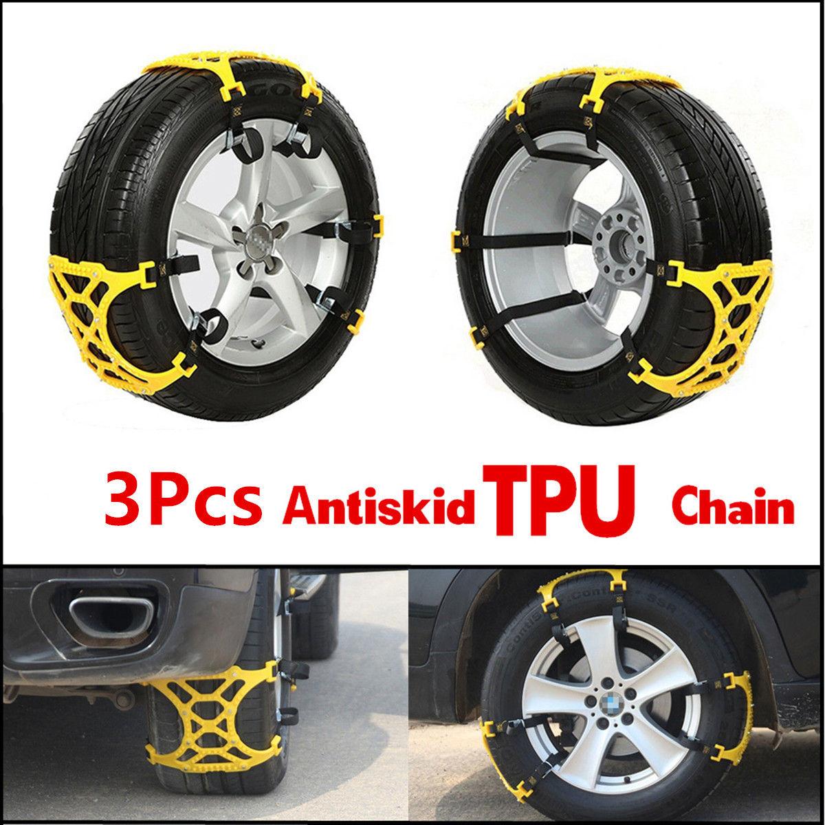 3 pièces/ensemble voiture camion neige Ics roue pneu antidérapant chaînes glisser épaissi Tendon