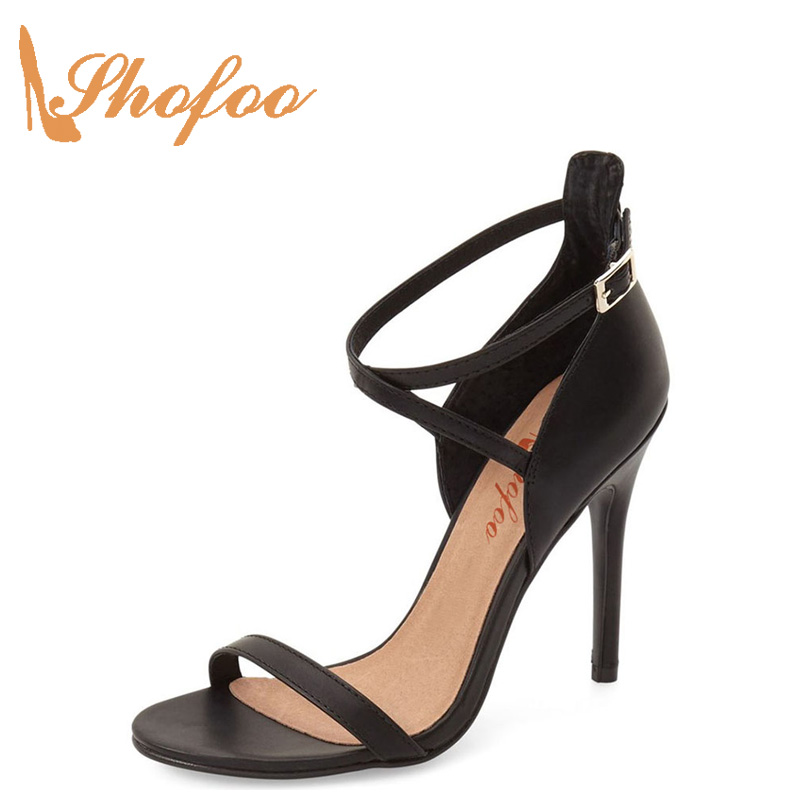 Nude Satin Wedding High Heels Stiletto Black Sandals Bridal Ankle Wrap Summer One Strap Cross Buckle Party Dress Sexy lady Shoes