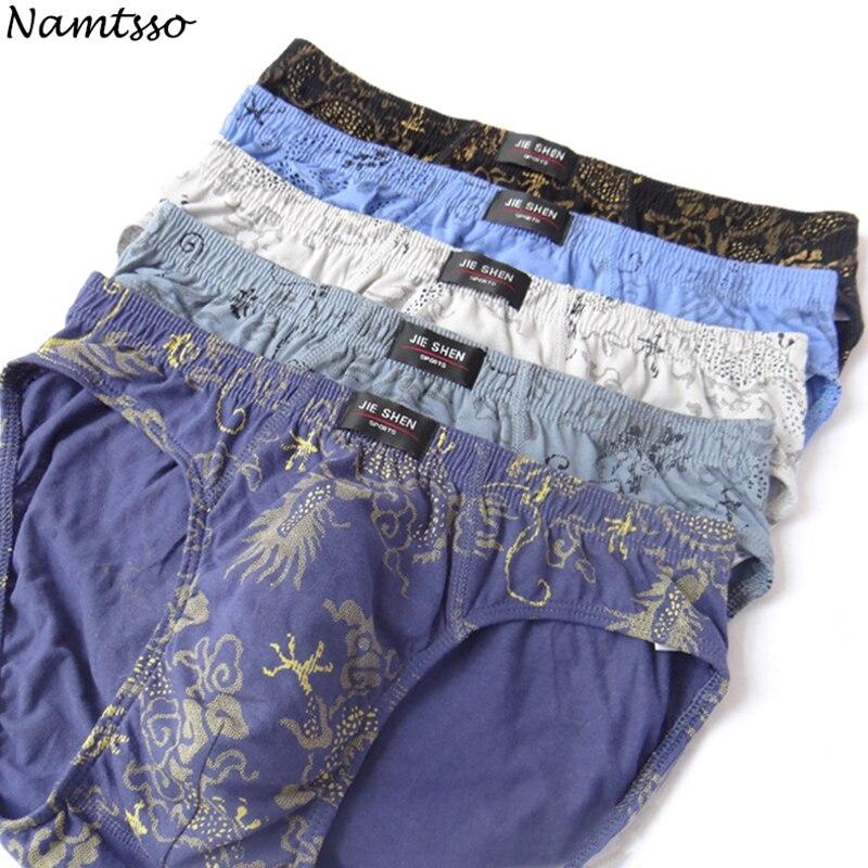 Hot Sale 5 Pieces 100% Cotton Underwear Ultra-large Size Men's Briefs Male Printed Underpants