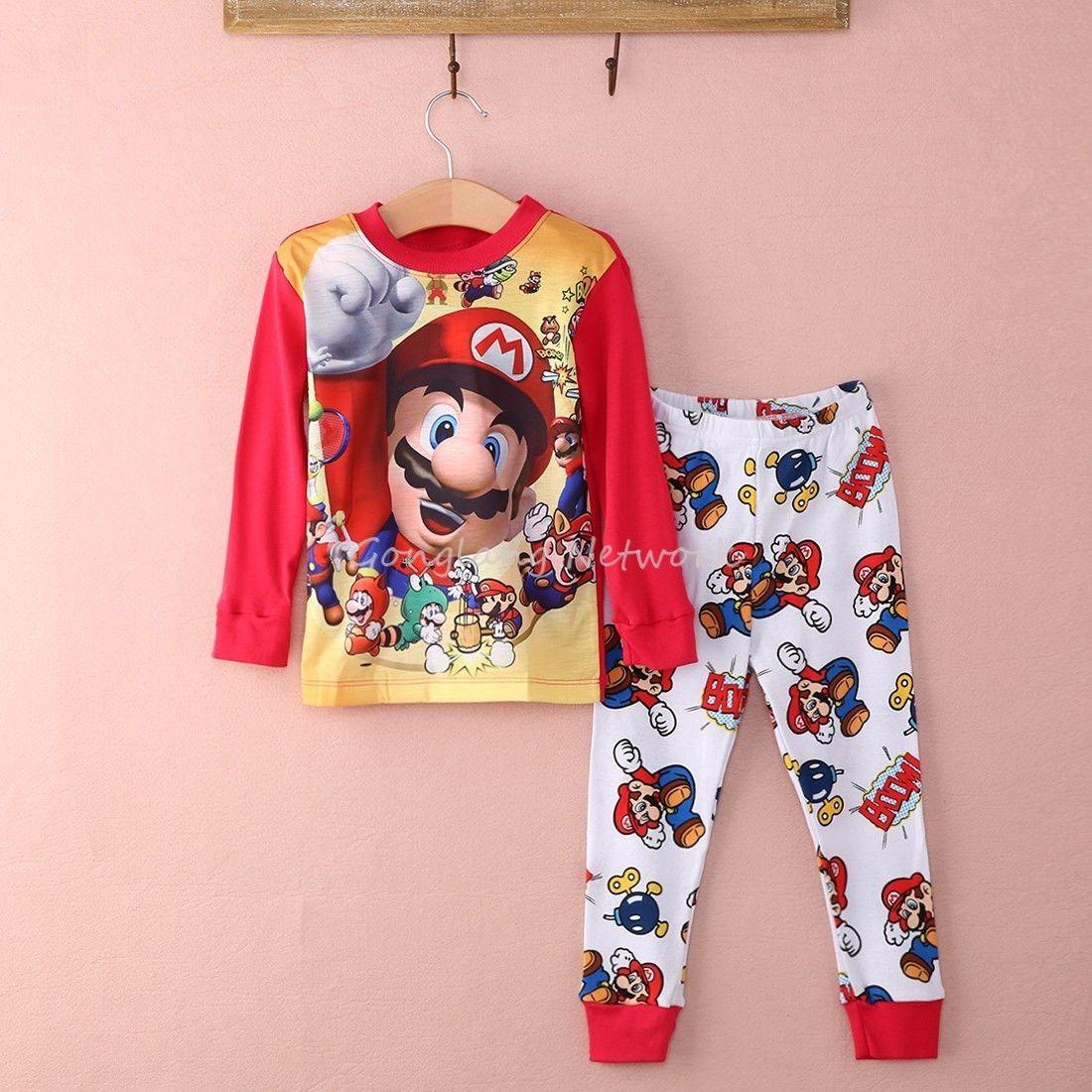 2015 Neue Super Mario Baby Kinder Mädchen Jungen Kleidung Sets Kinder Nachtwäsche Pyjamas Set Nachtwäsche Sui üBerlegene Materialien