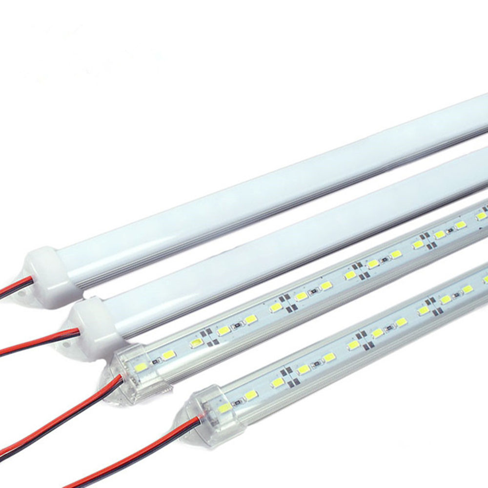 10pcs 50cm 5630 5730 white dc12v hard rigid bar strip with U aluminum profile cover channel housing cabinet light kitchen light цена