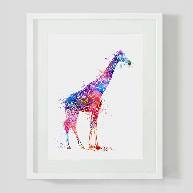 Watercolor Giraffe Art Print Nursery Pictures Animla Colorful Wall New Home Decor Gift