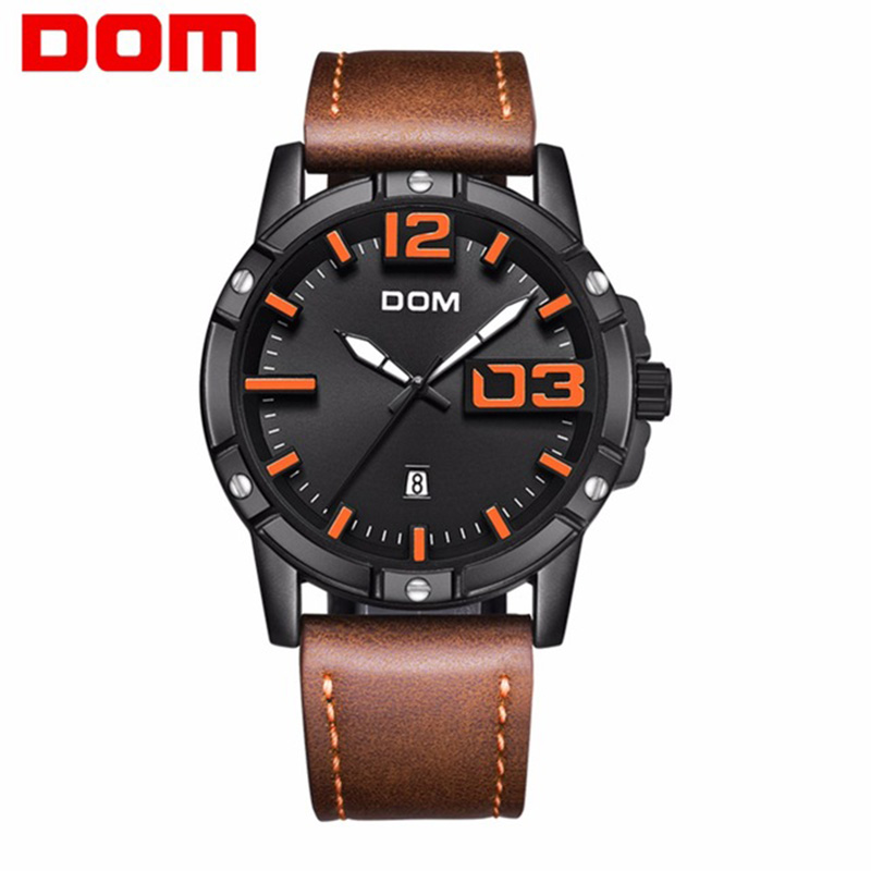 DOM Watch Men Fashion Sport Quartz Clock Mens Watches Top Brand Luxury Leather Business Wristwatch Waterproof Relogio Masculino цена