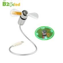 Summer Essentials Hand Mini USB Fan Gooseneck Flexible Display Real Time Clock Luminous LED Night Light Power Supply Laptop PC
