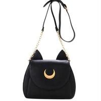 Cute Sailor Moon Women Shoulder Bag Ladies Cat ears Luna Leather Chain Handbag Tote Purse Wallet Crossbody Messenger wholesale