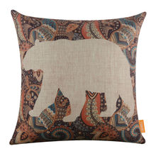 LINKWELL 18×18″ Retro Ethnic African Pattern Bear Burlap Cushion Cover Throw Pillowcase Morocco Style for Man Cave