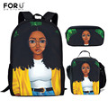 FORUDESIGNS/черные школьные сумки для девочек с волшебным рисунком  3 шт.  женские забавные рюкзаки для ноутбука  модные рюкзаки для путешествий