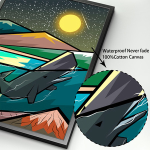 Image 4 - Balena astratta Foresta di Montagna Paesaggio Nordic Poster E Stampe di Arte Della Parete della Tela di Canapa Pittura Immagini A Parete Per Living Room Decor