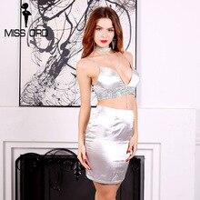 Missord 2017 Sexy V-образным Вырезом без рукавов без бретелек атласная rhinestone два-шт zip mini dress FT8111