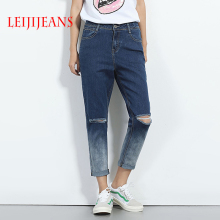Leijijeans Tow Tone Ripped Harem Jeans For Women Plus Size S-6XL Low Elastical Mid Waist Pants 2017 Autumn Winter Holes Jeans