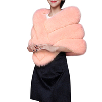 Women Furry Faux Fur Scarf Shawl Warm Large Scarves 2019 Autumn Winter Fashion Scarf Wedding Cape Pashmina female Brown/Pink
