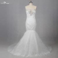 LZ100 Dress Charming Applique Bridal Gowns Mermaid Lace Wedding Dresses Sweetheart Trumpet Beading Vintage Wedding Dress Girl