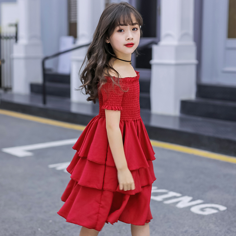 Image 5 - girls summer dress red cake tiered chiffon kids party dresses for girls birthday short sleeve 4 6 8 10 12 Y children clothesDresses   -