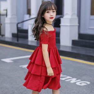 Image 5 - girls summer dress red cake tiered chiffon kids party dresses for girls birthday short sleeve 4 6 8 10 12 Y children clothes