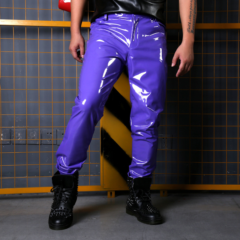 Fashion Show Singer Dancer  Casual Leather Pant Male 1