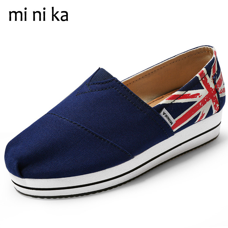 MINIKA Women Canvas shoes Summer Flats Platform Shoes Casual Footwear Female Driving Shoes British Flag Women Flat Shoes SNE-757 vintage embroidery women flats chinese floral canvas embroidered shoes national old beijing cloth single dance soft flats