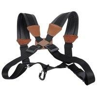 Wholesale Professional Luxury Adjustable Tenor Alto Saxophone Strap Leather Snap Hook Harness Double Shoulder Sax Neck