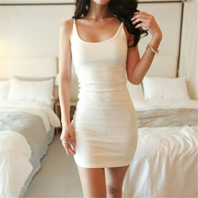 Fashion Sleeveless Slim Women Basic Dresses Sexy Backless Vestidos Vest Tanks Bodycon Dress Strap Solid Party Dress