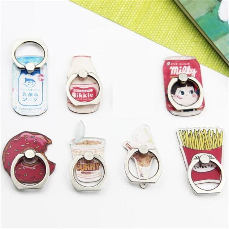 UVR New Design Universal Metal Finger Ring Fries Mobile Phone Holder Cute Chips Milk Bottle Donuts Cartoon Phone Holder Ring