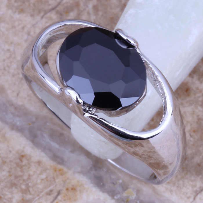 เสน่ห์สีดำCubic Z Irconiaเงินประทับ925แหวนขนาด6/7/8/9 R0259