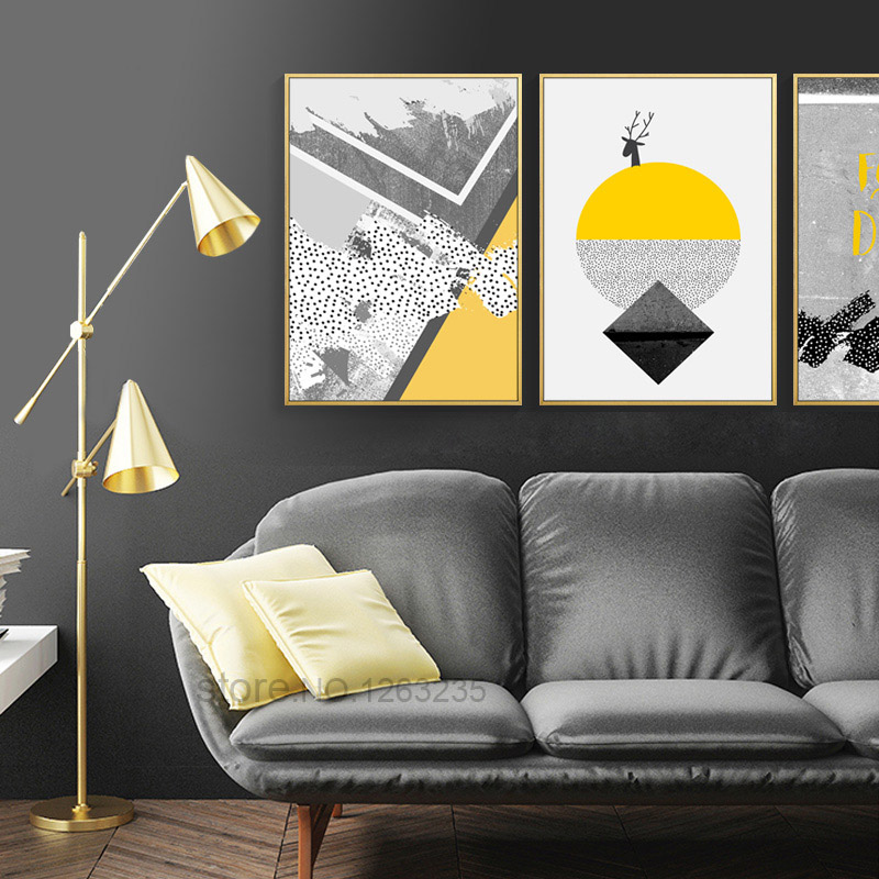 Model Of Modern Abstract Deer Yellow Painting Gray Geometric Nordic Poster Geel Posters And Prints Wall For Living Room Unframed in Painting & Calligraphy Trending - Model Of Wall Posters for Bedroom For Your Plan