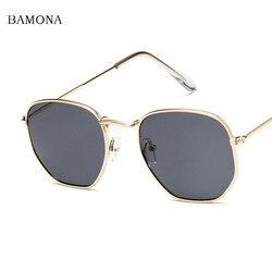 BAMONA Men Hexagonal Flat Lenses Aviation Sunglasses Brand Designer New Vintage Women Pink Mirror Driving Sun Glasses