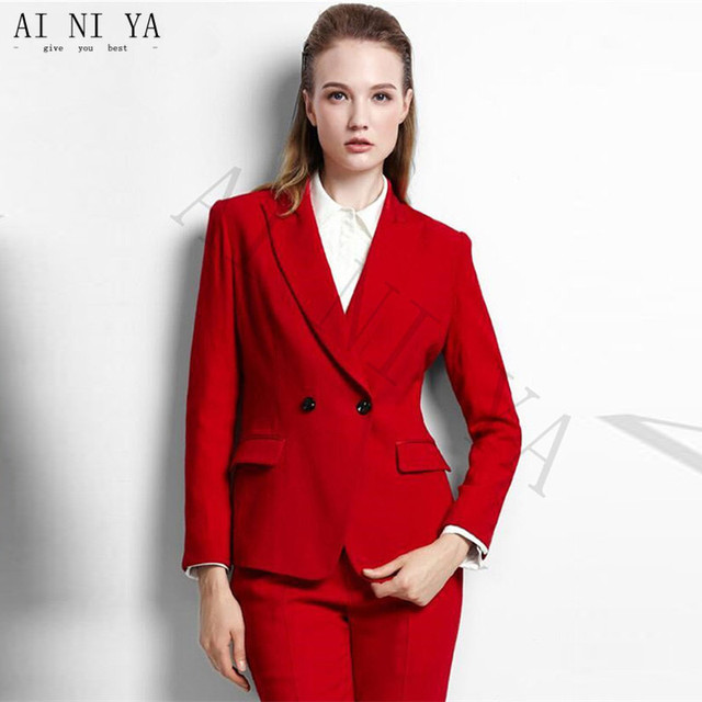 Chaqueta + Pantalones Womens Business Trajes doble breasted mujer Oficina  uniforme noche formal party prom Delgado 5f7177e382b