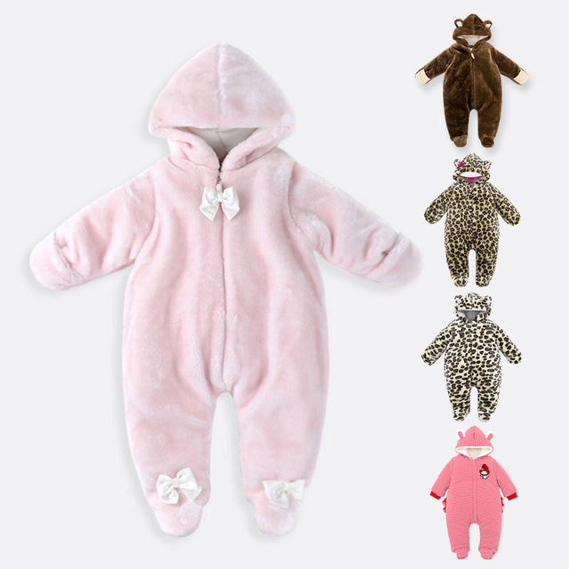 Newborn cartoon Siamese crawling clothes baby winter clothing plus velvet thick zipper hooded clothes