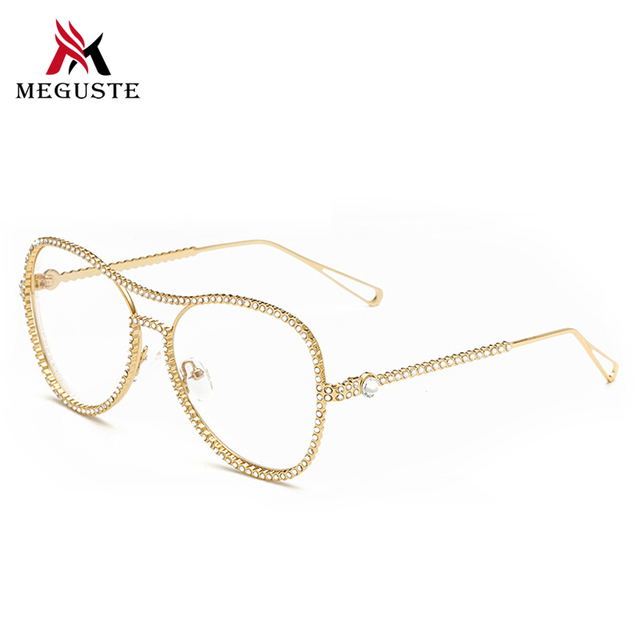 Meguste gold glasses frames personality with drill frame Eyeglasses lady Optical Women Computer Plain fake Glass.