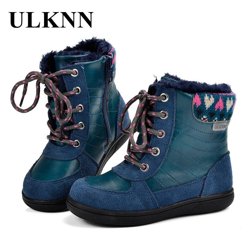 0f09727d1 Ulknn invierno niñas botas nieve para niñas niños botas niños zapatos  tobillo de goma de La felpa zapatos calientes botas meisjes laarzen niño