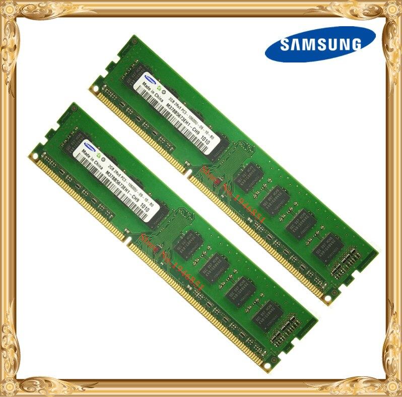 Samsung Bureau mémoire DDR3 4 GB 2x2 GB 1333 MHz PC3-10600U PC RAM 2G 4G 10600 1333 240pin
