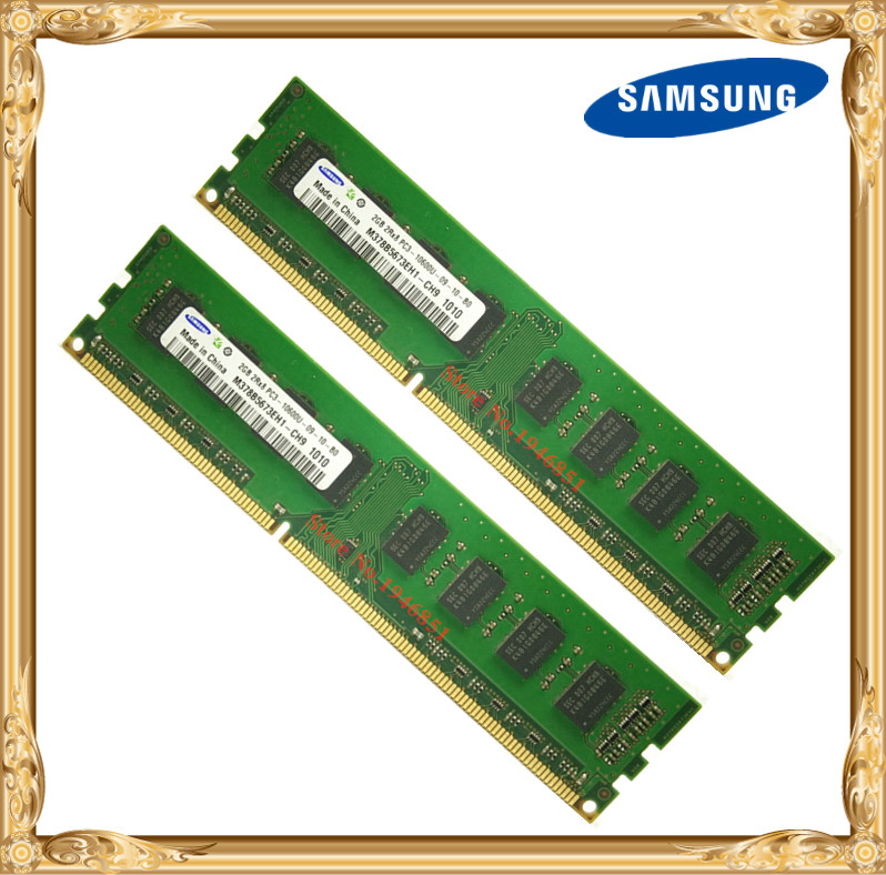 Samsung Desktop memory DDR3 4GB 2x2GB 1333MHz PC3-10600U PC RAM 2G 4G 10600 1333 240pin kingston ecc memory ram ddr3 4g 1333mhz cl9 240pin 1 5v pc3 10600u working on workstation and servers