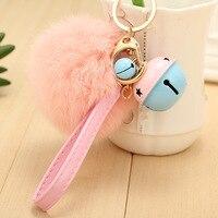 Llaveros Real Rabbit Fur Keychain Ball Pom Pom Cell Phone Car Key Chain Handbag Pendant Accessories