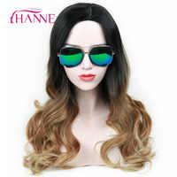 Perruque longue ondulée HANNE Ombre noir à brun perruques synthétiques résistantes à la chaleur pour les femmes noires/blanches perruque Cosplay